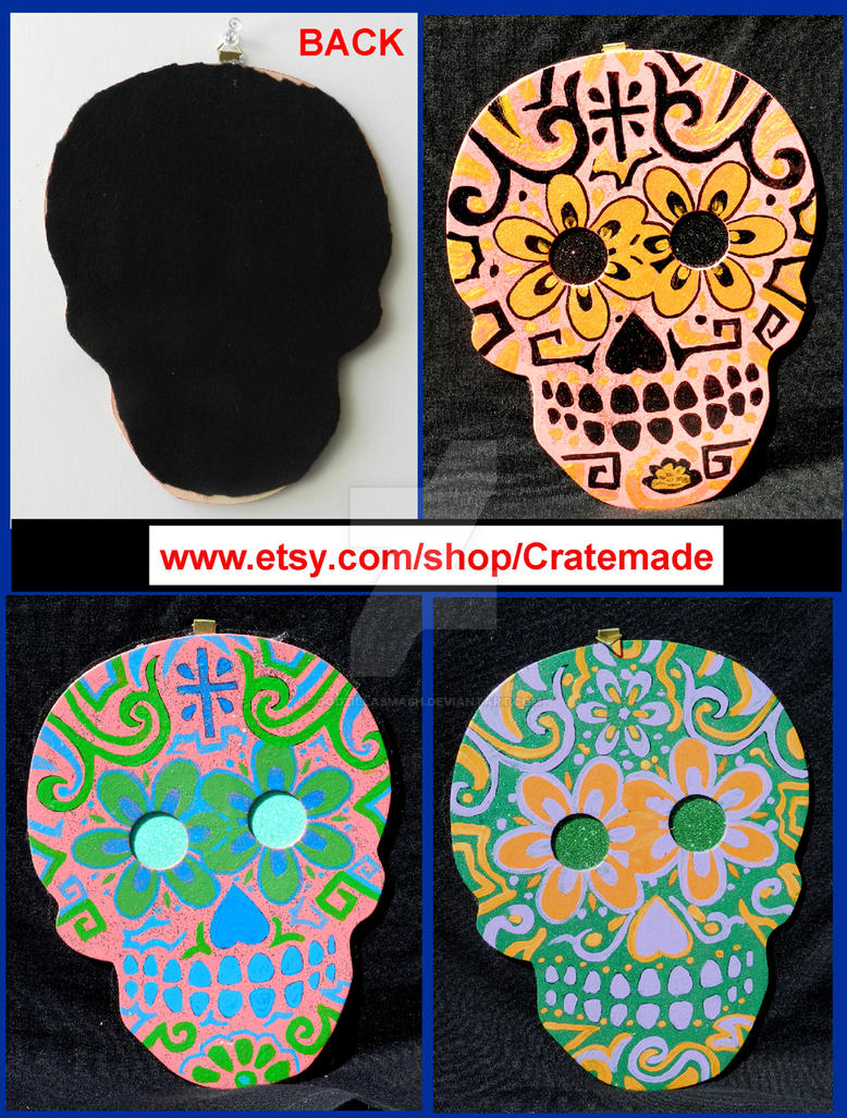 Skull wooden art wall decorations preview set 1 by godzillasmash