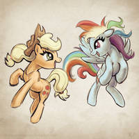 Applejack and Rainbow Dash (COLOR) by Sheendough