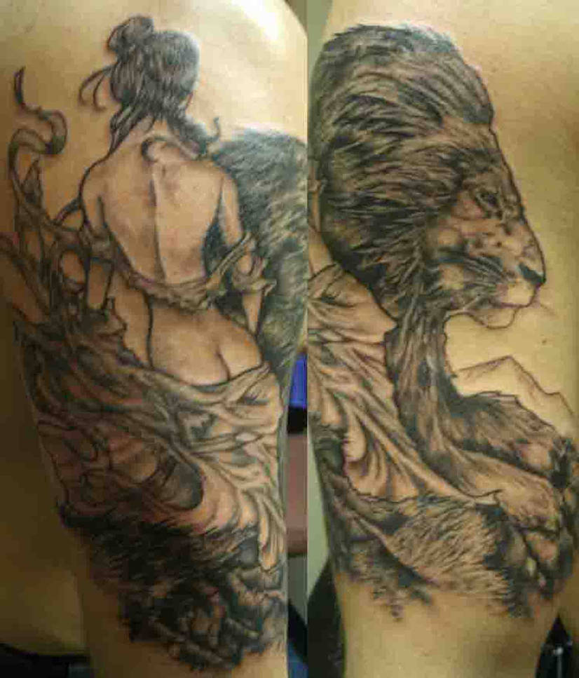 5e3c642f7 lady and lion tattoo by ShannonRitchie on DeviantArt