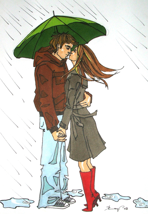 Kissing in the rain by K1MAGA1N on DeviantArt