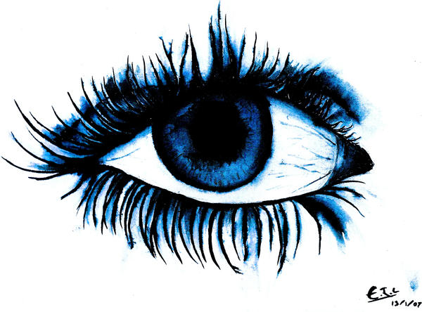 Blue Eye Crying Drawing Blue Eye With Tear Drawing