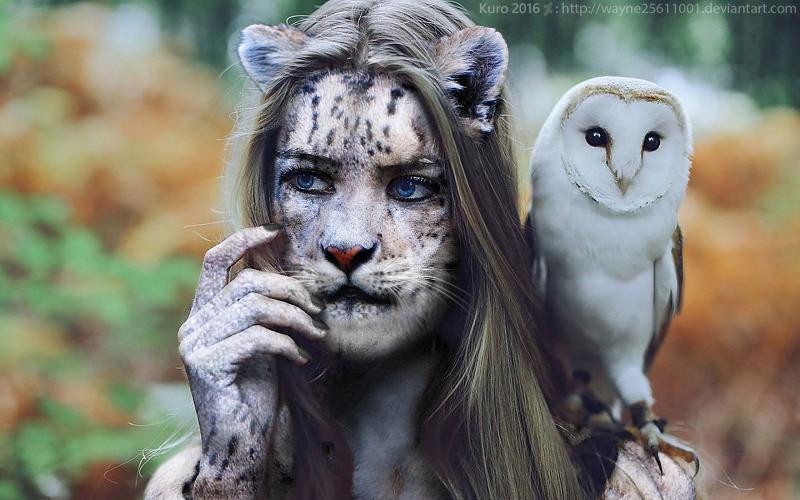 Girl and Owl by wayne25611001
