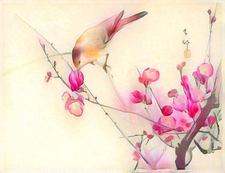 Songbird on a Blossom Branch