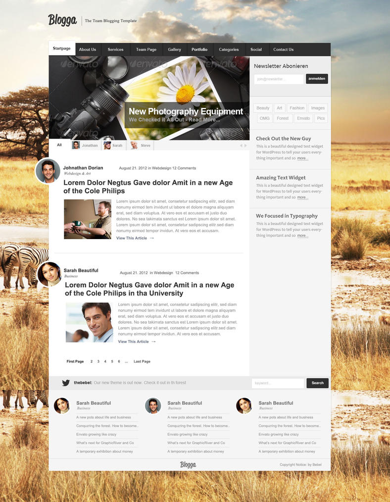 Blogga WordPress TEAM Blogging Theme by thebebel