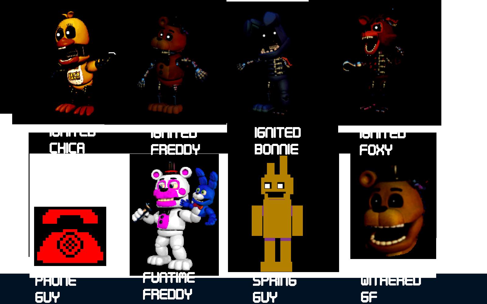 Fnaf world character designs by domobfdi on deviantart