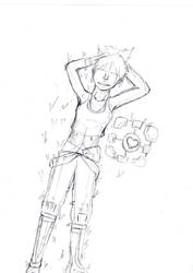 Portal 2-Chell sketch by Shmirbykirby
