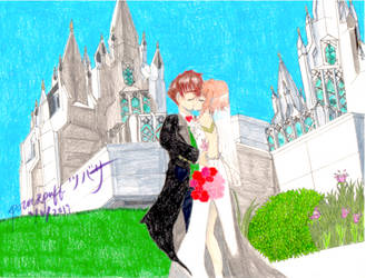 Sakura and Syaoran (TRC) wedding by powerpufftsubasa