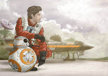 Poe Dameron and BB-8 on D'Qar