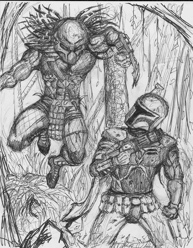 Predator vs. Boba Fett. by Lukeforadventure