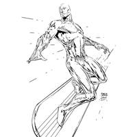Silver Surfer Finch my INKS by JamesLeeStone