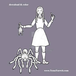 Halloween Paper Doll Coloring Sheet - Wednesday by yurwity
