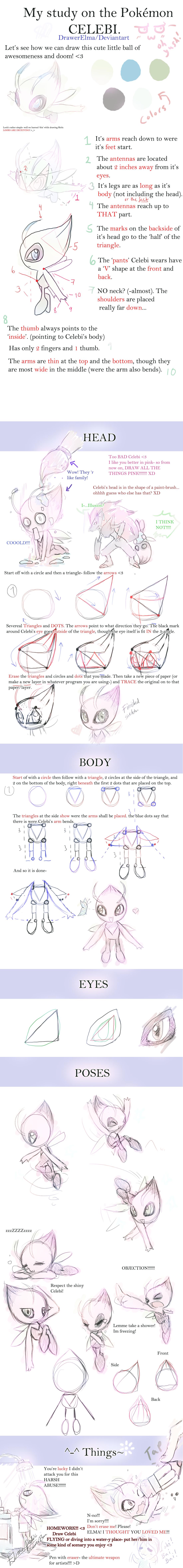 How to Draw Celebi- DrawerElma's Study by DrawerElma