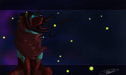 Fireflies in vanilla twilight