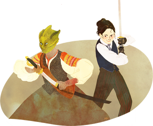 Madame Vastra and Jenny by OrangePopFox