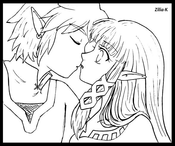 Line Art Kiss : Line art kiss zelink ss by zilia k on deviantart