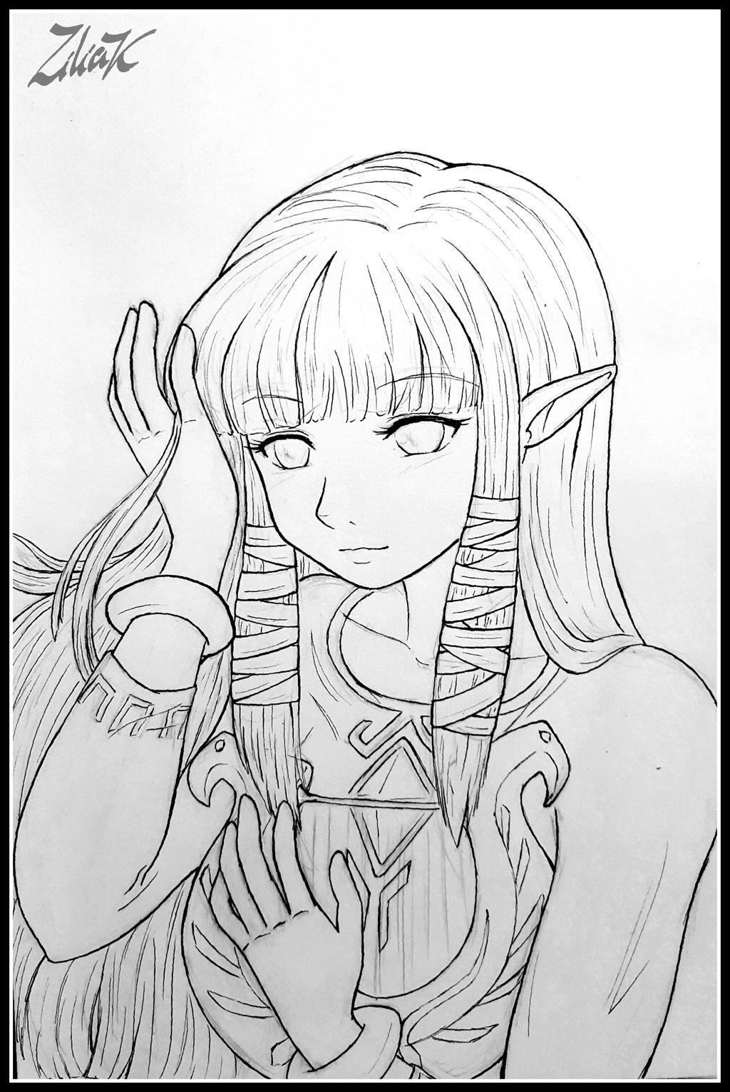 Zelda Skyward Sword line art by zilia-k