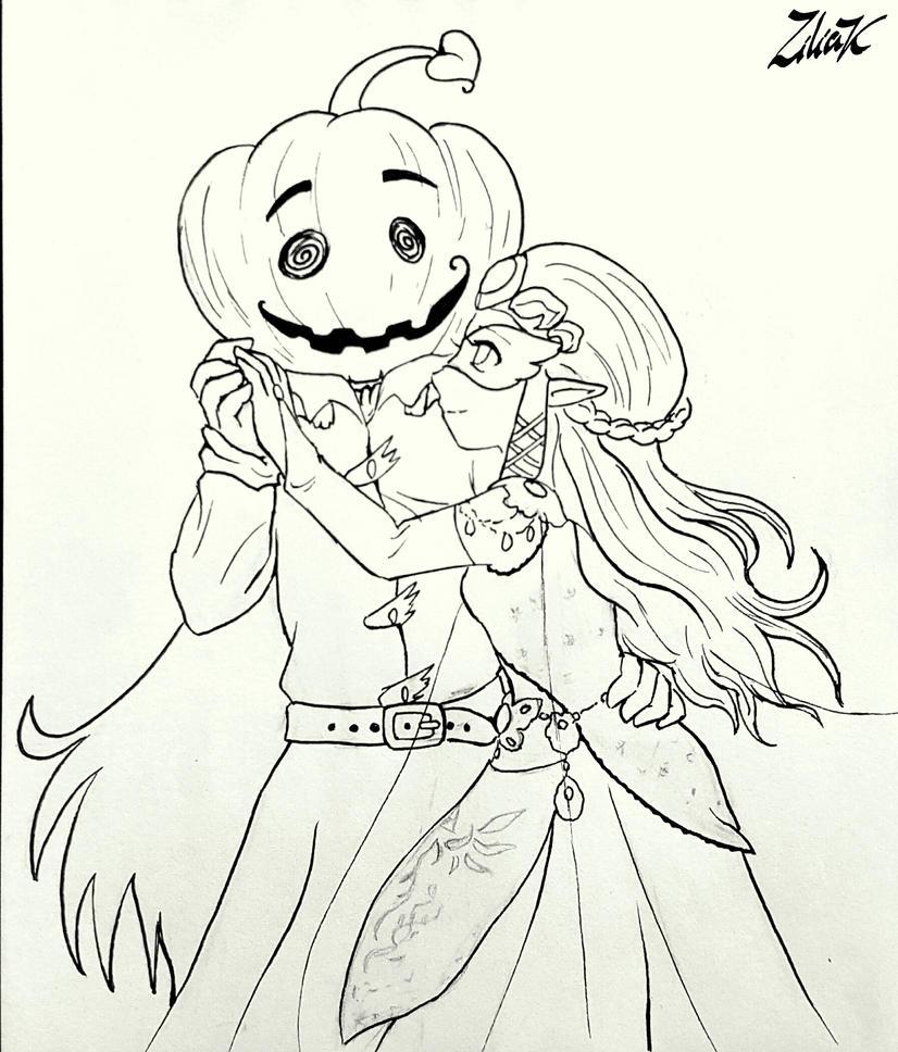 Laughing pumpkin line art by zilia-k