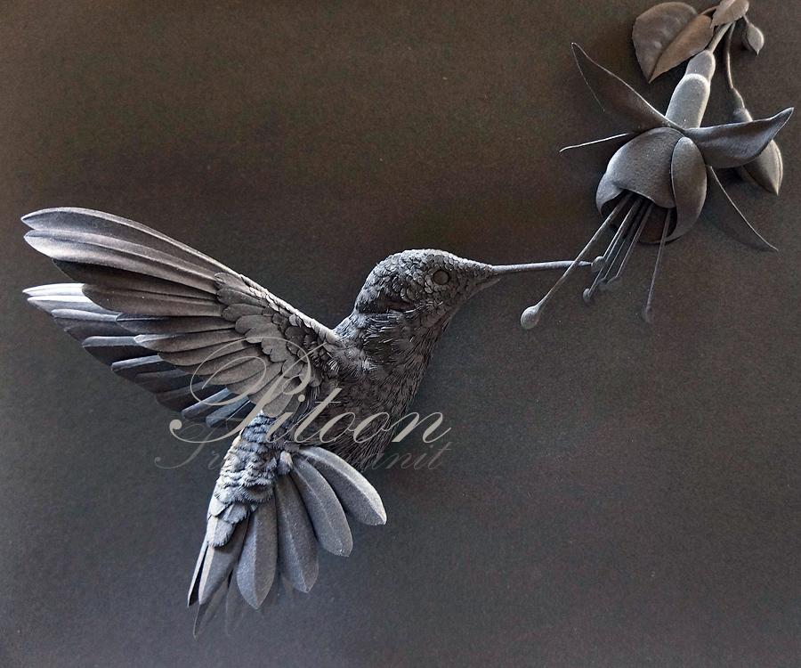 Paper sculpture hummingbird with fuchsia flower by 8thleo on paper sculpture hummingbird with fuchsia flower by 8thleo mightylinksfo