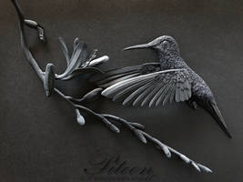 Black Hummingbird Paper Sculpture by 8thLeo