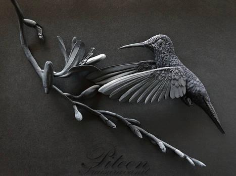 Black Hummingbird Paper Sculpture