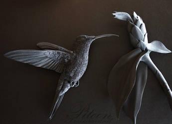 Black paper sculpture