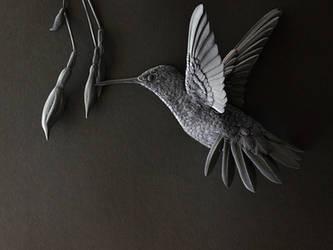 Hummingbird Paper Sculpture