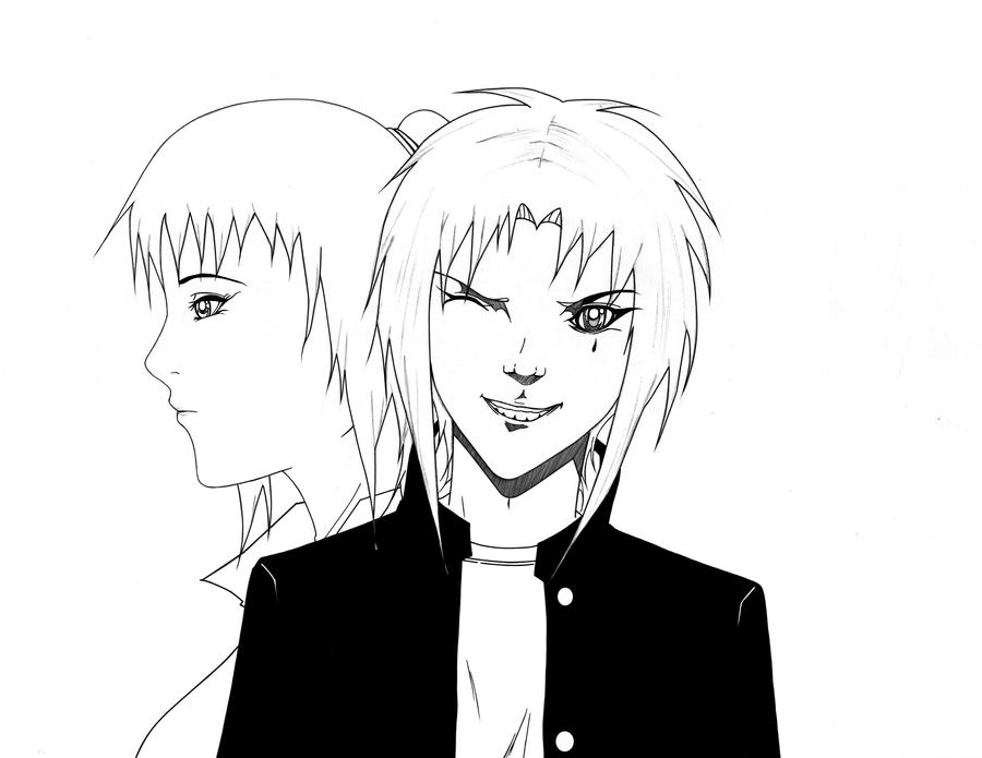 shia and spike line art by xwx101