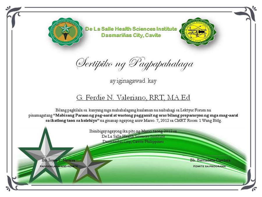 Certificate Of Appreciation(own Made) Tagalog By Clgenesis ...  Certificate Of Recognition Samples