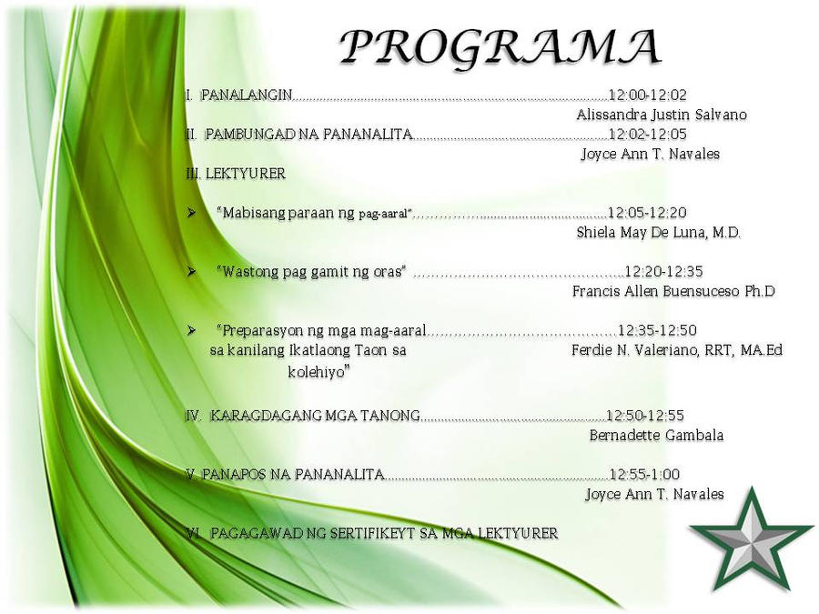 Sample Invitation Program  CityEsporaCo