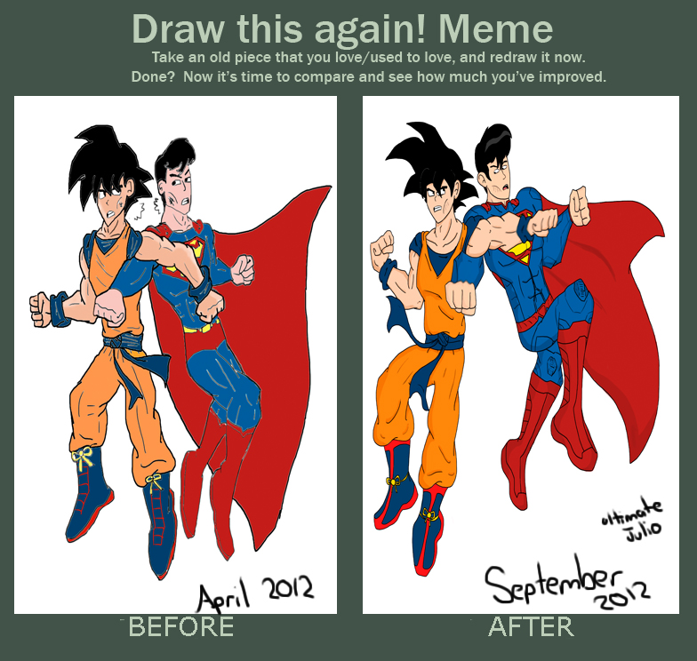 draw this again goku vs superman by ultimatejulio on deviantart