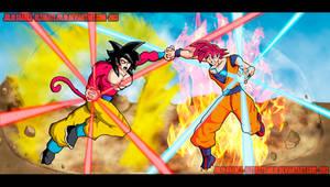 Goku super saiyan 4 vs super saiyan god! by ultimatejulio