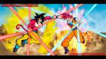 Goku super saiyan 4 vs super saiyan god!