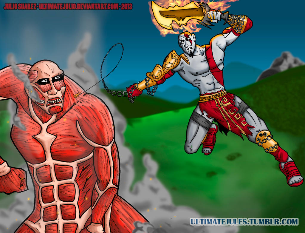 Gods vs Titans ( Kratos GoW  / Colossal Titan SNK) by ultimatejulio
