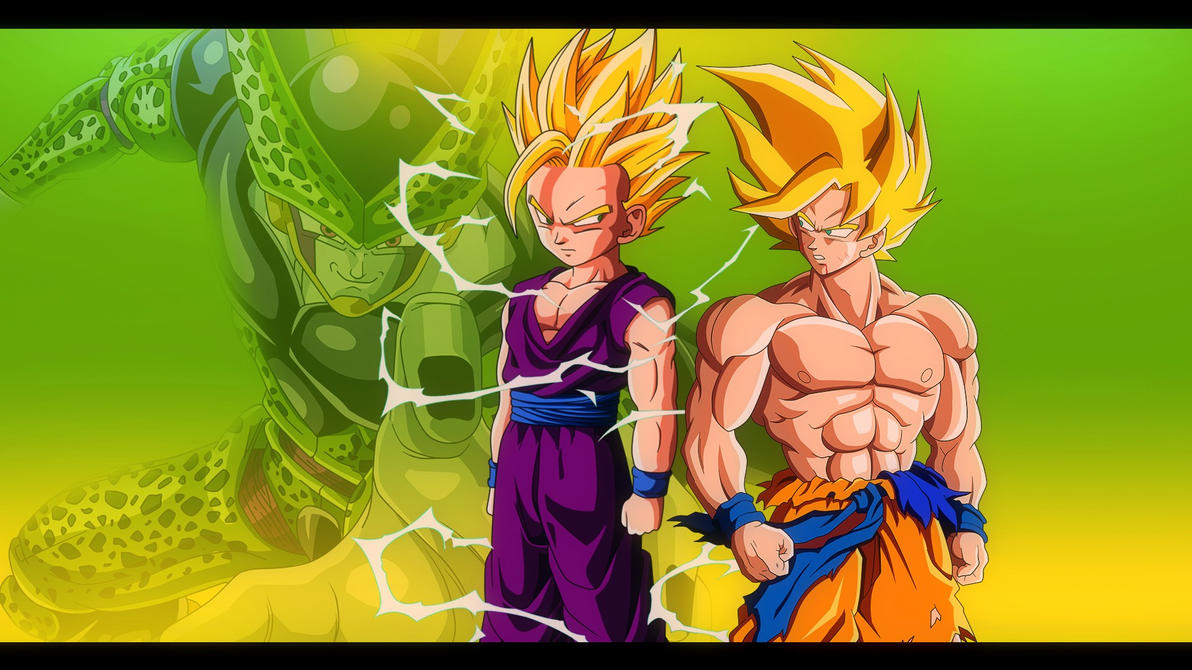 goku and gohan vs cell - dbz wallpaper 1920*1080oirigns on