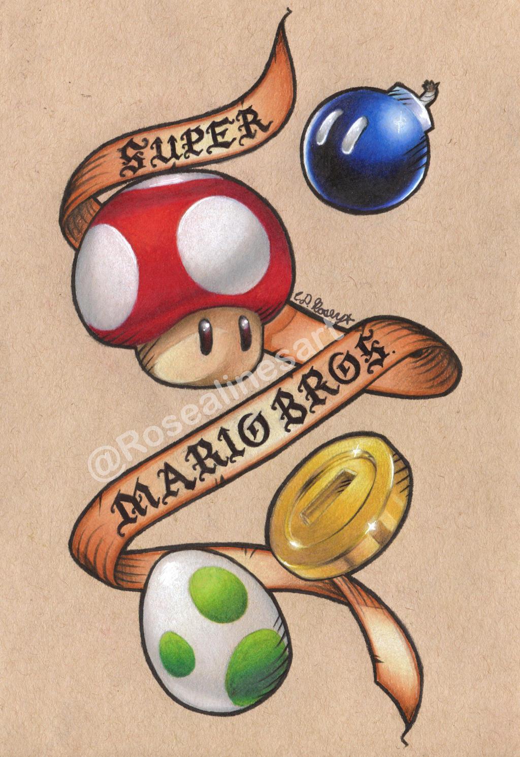 black super mario mushroom tattoo
