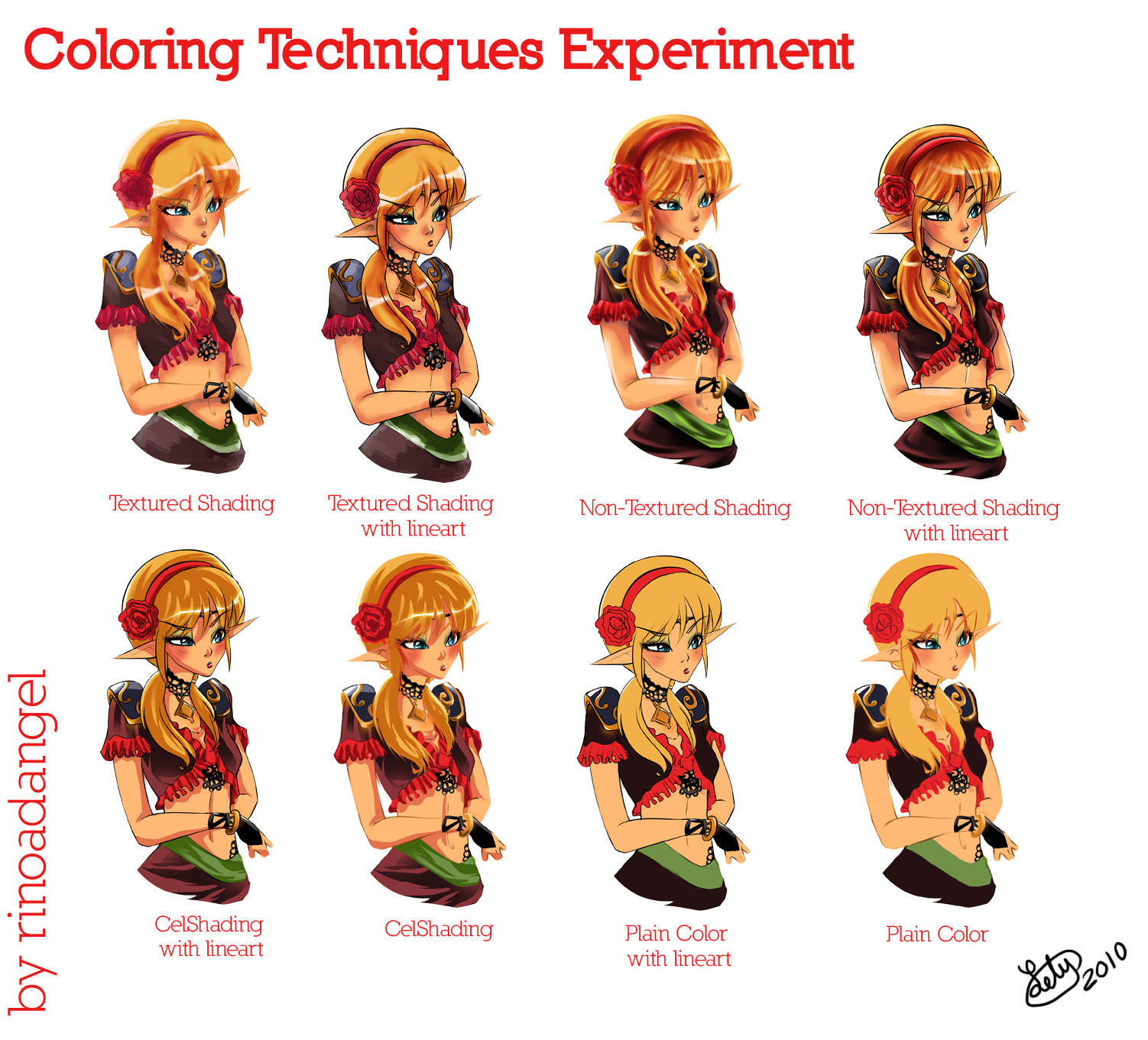 Coloring Techniques Experiment by rinoadangel on DeviantArt