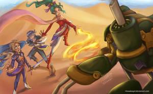 Final Fantasy VI: Figaro Battle by rinoadangel