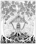 Rowan Ogham Card in Black Ink