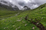 Hiking trail across alpine zone of Tian Shan