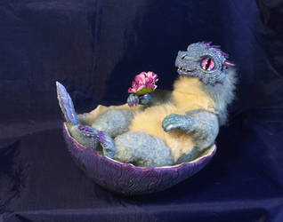 Poseable artdoll Blue Baby dragon in an egg by LordBurevestnik