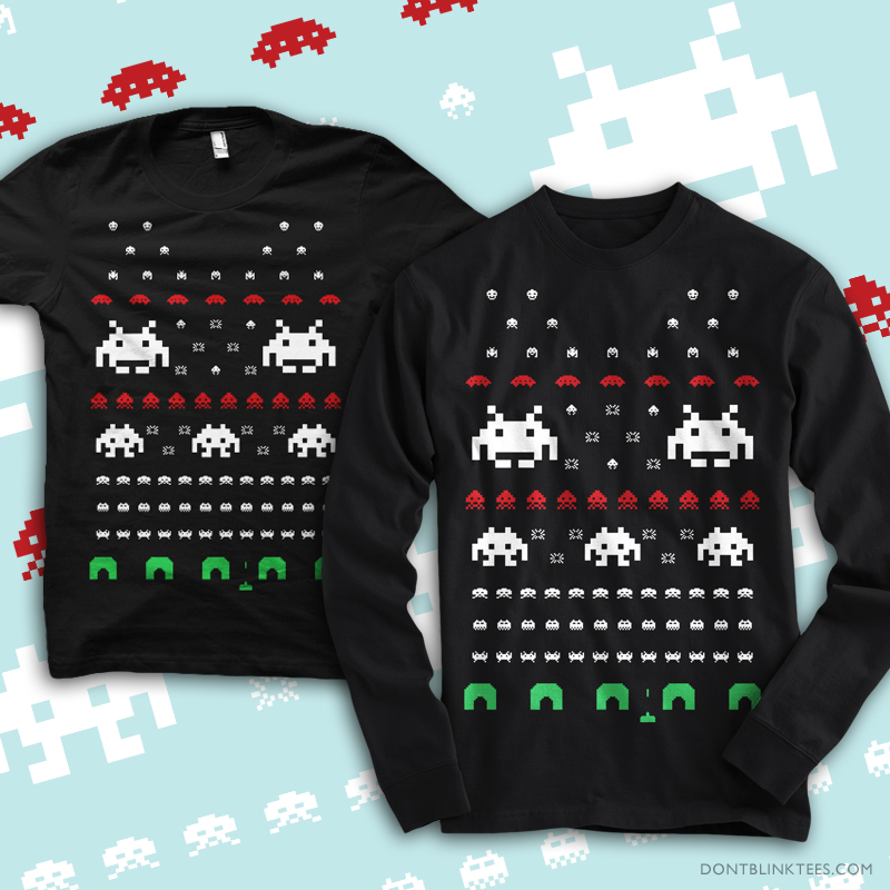 T-Shirt: Holiday Invaders by dontblinktees