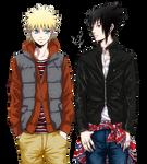 Naruto and Sasuke Render