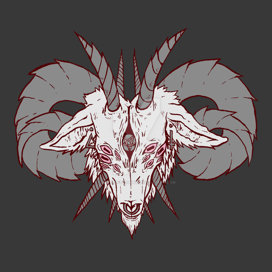 demon goat head by butterflyvomit