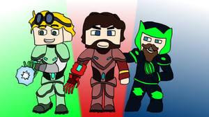 Yogscraft: Green Lantern, Maroon Man and Melon Guy by HelloImRame