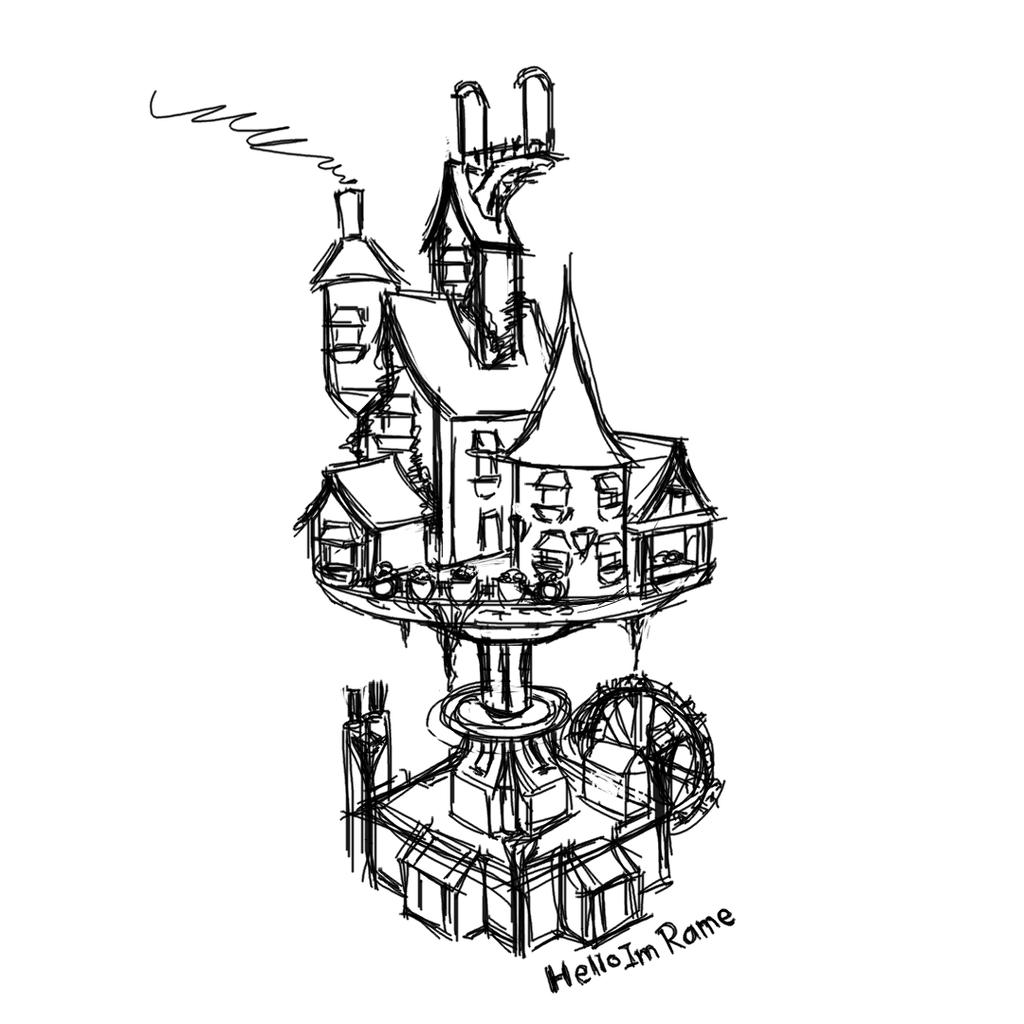 Clockwork house sketch by HelloImRame