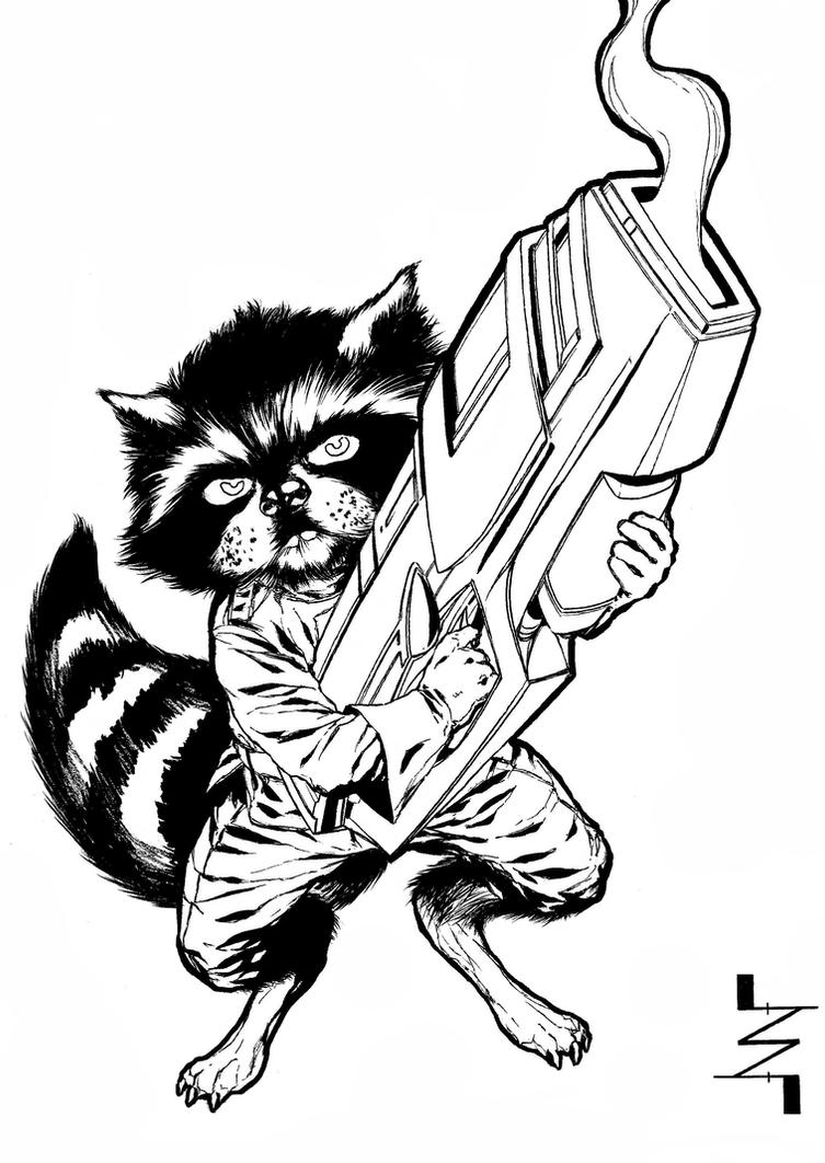 Line Drawing Raccoon : Rocket raccoon by albertonavajo on deviantart