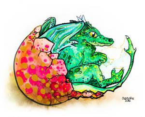 Earth Dragon reborn / Watercolor