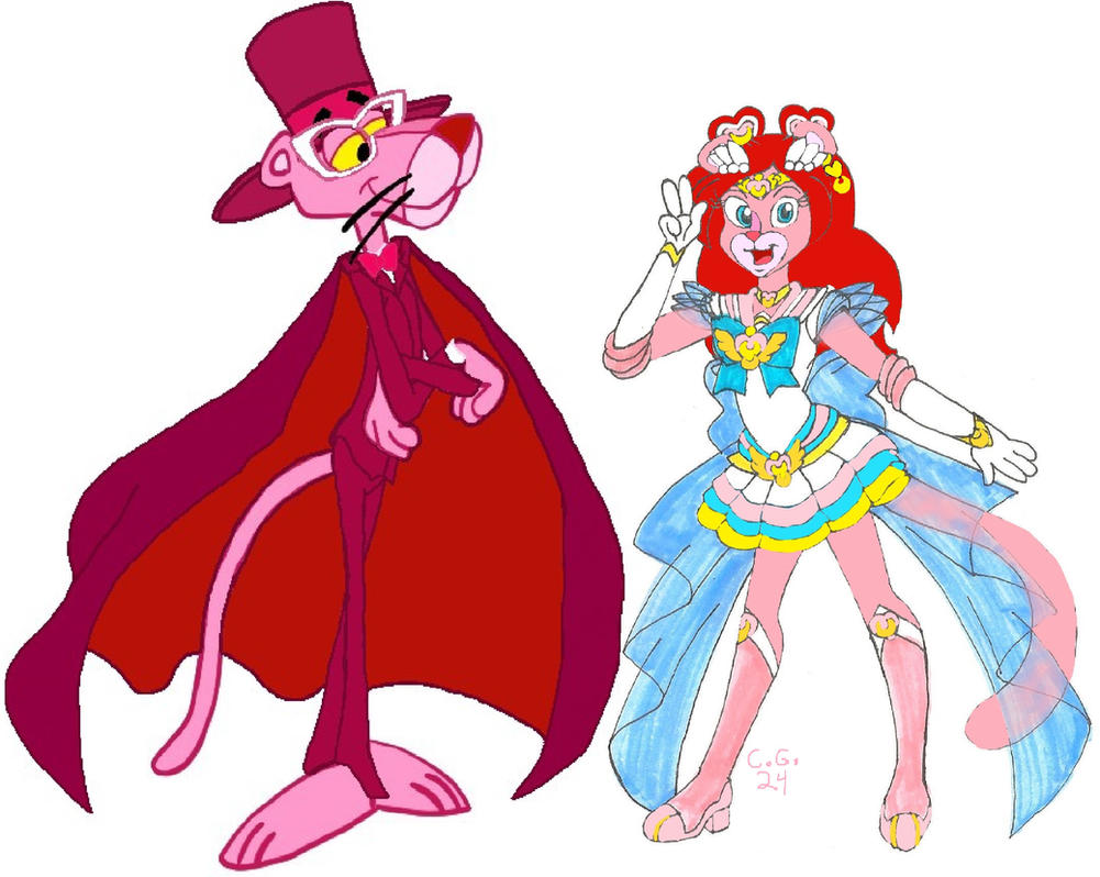 Sailor DiaMoon and Tuxedo Pink by CooperGal24