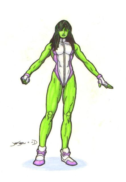 She Hulk Pose Color By Lazy Doodler