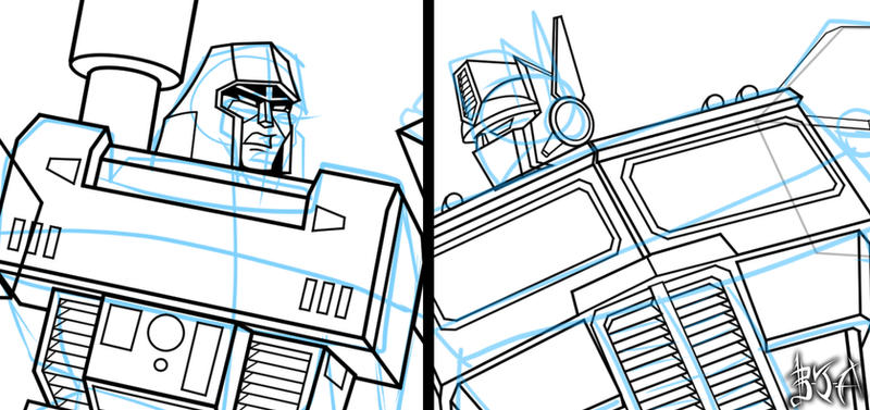 Megatron and Optimus drawing by Berty-J-A